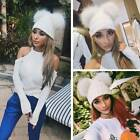 Fashion Thick Winter Beanie Cute Hat Outdoor Chunky Knit with Double Fur Pom Hot