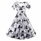 Vintage Style Short Sleeve Floral Printed Swing Pinup Party Causal Dress