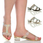 WOMENS LADIES LOW BLOCK HEEL DIAMANTE T-BAR MULES SANDALS EVENING SLIPPERS SIZE
