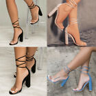 New Fashion Women Lady Sexy Transparent Lace-up Sandals High Heel Shoes