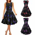 Women's Vintage Retro Style 50s 60s Swing Pinup Rockabilly Party Dress Boat Neck