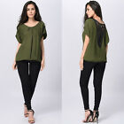 Fashion Women Short Sleeve Casual Chiffon Tops Summer Beach Lace Bouse Tee Shirt