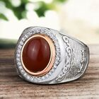 Mens Vintage Ring 925 Sterling Silver NATURAL RED AGATE and GREEN JADE all sizes
