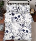 3D Skull Flowers Bed Pillowcases Quilt Duvet Cover Set Single Queen King Size AU