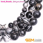 """Round Natural Black Web Picasso Jasper Stone Beads for Jewelry Making 15"""""""