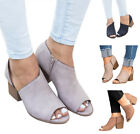Women Peep Toe Middle Heel Short Ankle Boots Office Work Zip Sandals Pumps Shoes