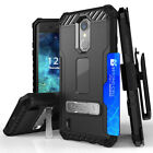 For LG Rebel 2 LTE Rugged Case+Tempered Glass Screen w/Metal Kickstand Holster