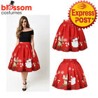 K473D Christmas Skirt High Waist Skater Retro Flared Xmas Rockabilly Vintage 50s