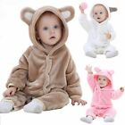 Clothes Outfit 0-24 Months Toddler Romper Baby Jumpsuit Hooded Infant Flannel