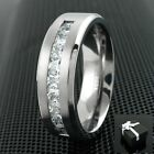 mens cz ring - 8mm Titanium Men's 1.8 Carat Princess Cut CZ Brushed Center Wedding Band Ring