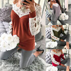 Women Autumn Spring Casual Lace Splicing V-neck Long Sleeve Pullovers Tops