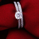 Women Cubic Zirconia Silver Plated Ring Jewelry Engagement Wedding 2Pcs Set