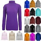 Womens Ladies Long Sleeve Chunky Cable Knitted Turtle Polo High Neck Jumper Top