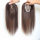 US Shipping Hand-made mono 100% Human Hair Topper Hairpiece Toupee For Women