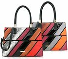 LADIES LYDC  TWIN HANDLE TOTE  STRIPED CROSSOVER FLAP PURSE PARTY HANDBAGS