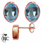 BJC® 9ct Rose Gold Natural Blue Topaz Oval Stud Earrings 3.00ct Studs