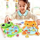 Baby Wooden Fishing Game Magnetic Puzzle Board Kids Jigsaw Puzzle K0E1