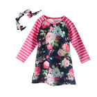 Women Kids Baby Girl Boho Dress Stripes Floral Long Sleeve Casual Clothes Outfit
