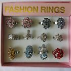 12 - 36 Rings & Free Display Box Silver Gold Plated Colourful Adjustable