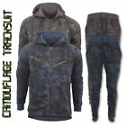 Mens Camouflage Hooded Tracksuit Top Gym Sports Full Set Bottoms Fleece S M L XL