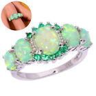 Fashion Bridal Engagement 925 Silver Fire Opal Green Gemstone Rings Luxuries New