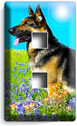 ADULT GERMAN SHEPHERD DOG FLOWER FIELD LIGHT SWITCH OUTLET WALL COVER ROOM DECOR