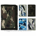 Mens Boys CAMOUFLAGE Wallet Canvas TriFold CAMO Slim NEW Teens VALUE