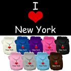 I Love New York Screen Print Pet Dog Cat Pet Puppy Hoodie Hooded Winter Apparel