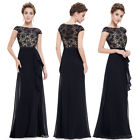 Ever-pretty Long Black Lace Evening Party Dresses Cocktail Prom Gowns 08901