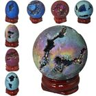 Titanium Coated Druzy Agate Crystal Geode Egg Ball Sphere Figurine + Wood Stand