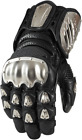 Mens Icon Black Timax Leather Long Motorcycle Riding Street Racing Gloves Harley