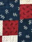 BEST Early Antique Hand Sewn Red White Blue ALL CALICO Quilt Textile A+ AAFA