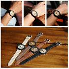 Bamboo Wood Vintage Quartz Watch Leather Band Dial Plate Wristwatch Men Women WH