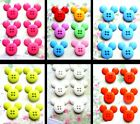 DISNEY BUTTONS MICKEY MOUSE HEAD SET OF 6 / 12  ACRYLIC WITH 4 HOLES