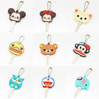 Cute Puppy Pug Cat Rabbit Key Cover Cap Keychain Silicone Key Ring Unisex Gift