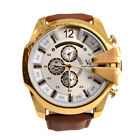 Hot  Men Leather Stainless Steel Quartz V6 Sport  Military Wrist Watch NEW