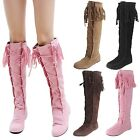 Lace Up Comfy Japan Knee Length Womens Western Flats Boots UK 1.5-8