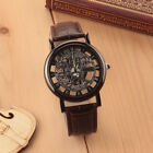 Luxury Men's Skeleton Stainless Steel Leather Band Transparent Hollow Wristwatch image