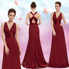 Ever-Pretty Long Dresses Sleeveless V-neck Backless Bridesmaid Prom Gowns 09008