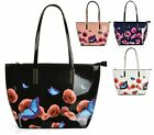 LADIES WOMENS FASHION SHOPPER BUCKET PATENT BUTTERFLY FLORAL SHOULDER HANDBAG