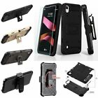 For LG X Style Tribute HD Hybrid Impact Armor Rugged Case Cover Holster Screen