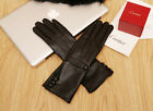 women mid long upper buttons real  sheep leather long gloves black