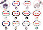 "8 mm Chakra Gemstones Beads Chips Quartz Twist Tree of Life Charm 7"" Bracelet"