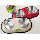 Stainless Steel Non Slip Dog Puppy Cat Pet Feeding Food Water Double Bowl Dish