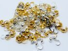 3.5MM BRASS BEAD TIPS KNOT COVER FOR JEWELLERY MAKING, 3MM INNER SIZE - 50PCS