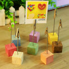 Wooden Memo Paper Note Picture Table Card Number Photo Clip Holder TB