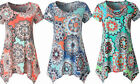 Womens Short Sleeve Floral Tops Loose Print Tunic Shirt