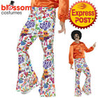 CA655 Groovy Flared Bell Bottom 1960s 1970s Hippie Retro Costume Pants Trousers