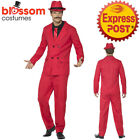 CA657 Red Zoot Suit Gangster 1920 Mens Pinstripes Gatsby 20s Fancy Dress Costume