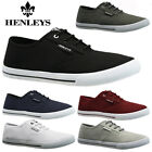 MENS HENLEYS LACE UP TRAINERS CASUAL CANVAS SKATES PUMPS SHOES PLIMSOLLS SIZE